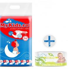 Scutece Copii Mykids New Maxi 4 (8-15Kg) 54 Buc Cadou Servetele Umede Doctor Wipes Aloe Fara Capac - Scutece unica folosinta copii