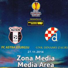 Acreditare meci fotbal ASTRA Giurgiu - DINAMO ZAGREB 27.11.2014 Europa League - Bilet meci