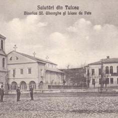 SALUTARI DIN TULCEA, BISERICA SFANTUL GHEORGHE SI LICEU DE FETE - Carte Postala Dobrogea dupa 1918, Necirculata, Printata