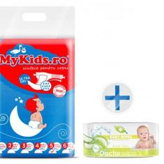 Scutece Copii Mykids New Junior 5 (12-25Kg) 50 Buc Cadou Servetele Umede Doctor Wipes Aloe Fara Capac - Scutece unica folosinta copii
