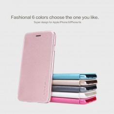 Husa iPhone 6 6S Sparkle Leather Case by Nillkin Rose Gold - Husa Telefon Apple, Roz, Piele, Cu clapeta, Toc