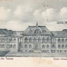 SALUTARI DIN TULCEA, LICEUL PRINCIPELE CAROL, CIRCULATA 1928 - Carte Postala Dobrogea dupa 1918, Printata