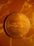 Placheta -Medalie -Gara West si Tunel Elbo ,bronz aurit ,d=3,5 cm, Europa