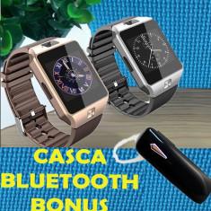 Ceas SMARTWATCH SIM+casca bt, Aluminiu, Negru, Android Wear