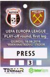 Acreditare meci fotbal ASTRA Giurgiu - WEST HAM UNITED 18.08.2016 Europa League