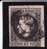 1867 LP 20 d CAROL I FAVORITI H.SUB. 20 P N/ROZ CU PUNCT GREACA POICON L.PASCANU, Stampilat