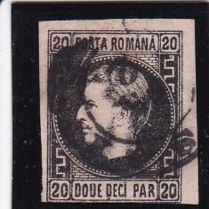 ROM1867 CAROL I CU FAVORITI H. SUB. 20 P N/ROZ CU PUNCT GREACA POICON L.PASCANU - Timbre Romania, Stampilat