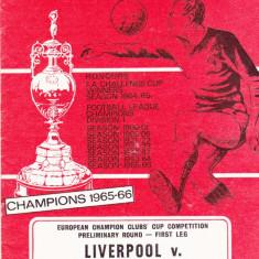 Program meci fotbal FC LIVERPOOL - PETROLUL PLOIESTI 28.09.1966