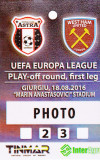 Acreditare meci fotbal ASTRA Giurgiu - WEST HAM UNITED 18.08.2016 Europa League