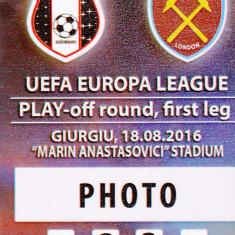 Acreditare meci fotbal ASTRA Giurgiu - WEST HAM UNITED 18.08.2016 Europa League - Bilet meci