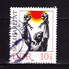 Timbre GERMANIA DDR 1981 = SOLIDARITATE - Timbre straine, Stampilat