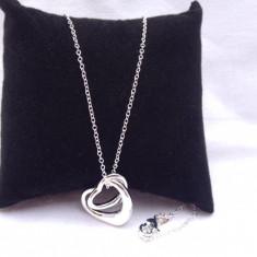 Lant, colier argint 925 dama model Double Heart - Lantisor argint, Femei