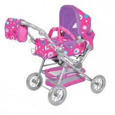 Carucior Pentru Papusi Cu Maner Reversibil Twingo-S Pink Splash - Carucior papusi Knorrtoys