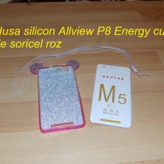 Husa silicon Allview P8 Energy cu urechi de soricel roz - Husa Telefon Allview, Cu snur
