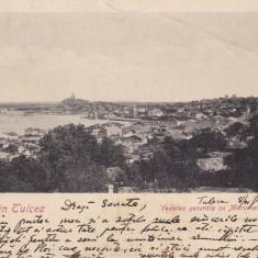 SALUTARI DIN TULCEA, VEDERE GENERALA CU MONUMENTUL COMEMEMORATIV CIRC. 1909 - Carte Postala Dobrogea pana la 1904, Circulata, Printata