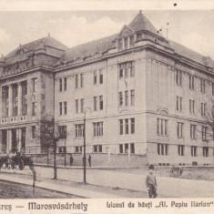 TARGUL MURES, LICEUL DE BAIETI AL. PAPIU ILARIAN - GIMNAZIUM, CIRC. 1927 - Carte Postala Transilvania dupa 1918, Circulata, Printata, Targu Mures