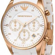 Ceas EMPORIO ARMANI alb, Cronograph, ceas de dama - Ceas dama Armani, Fashion, Quartz, Inox, Silicon, Cronograf