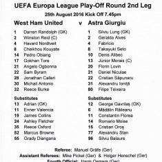 Foaie meci fotbal WEST HAM UNITED-ASTRA GIURGIU 25.08.2016 Europa League