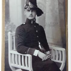 FOTOGRAFIE MILITARA VECHE - FORMAT CDV - TINUTA MILITARA DE GALA - DATATA 1912