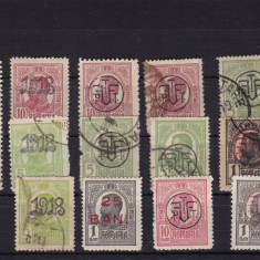 ROMANIA 1918, LOT 14 TIMBRE TIPOGRAFIATE - Timbre Romania, Stampilat