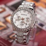 Ceas dama tip Geneva argintiu curea metalica silver + cutie simpla cadou, Casual, Mecanic-Manual, Otel