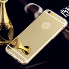 HUSA SPATE OGLINDA + MARGINE SILICON LG K10 GOLD - Husa Telefon Microsoft, Alcatel OT-991, Negru, Piele Ecologica, Cu clapeta