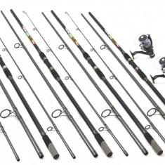 Set de 4 lansete Crap 3, 6m cu 4 mulinete DMR60 tambur longcast si 5 rulm - Set pescuit
