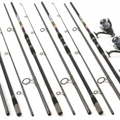 Set de 4 lansete Crap 3, 9m cu 4 mulinete DMR60 tambur longcast - Set pescuit