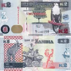ZAMBIA 2 kwacha 2015 UNC!!!