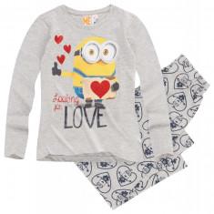 Pijama cu maneca lunga Minions gri
