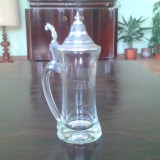 Halba de bere din cristal cu capac de zinc
