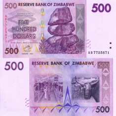 ZIMBABWE 500 dollars 2007 UNC!!! - bancnota africa