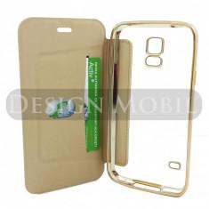 HUSA SAMSUNG GALAXY S5 TOC FLIP COVER TIP CARTE PREMIUM GOLD - Husa Telefon Samsung, Auriu, Piele Ecologica, Cu clapeta