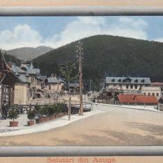 SALUTARI DIN AZUGA, SOCIETATEA DE CUMPATARE AZUGA, CIRCULATA 1911 - Carte Postala Muntenia 1904-1918, Printata