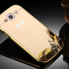 HUSA BUMPER ALUMINIU + SPATE OGLINDA HUAWEI P9 GOLD - Husa Telefon Huawei, Alcatel Pop C7, Roz, Silicon