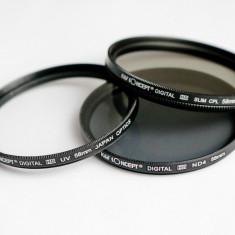 Set 3 filtre UV CPL ND4 HD 58mm KentFaith Concept + 2 cadouri!!! - Filtru foto Kent Faith, 50-60 mm, Polarizare