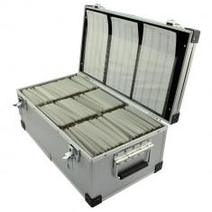 Cutie aluminiu pentru stocare discuri, capacitate 420 DVD/CD