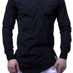 Camasa barbati Slim Fit Neagra Fashion  - Camasa neagra cambrata bumbac (S-XXL), XL, Maneca lunga, Alb, Negru