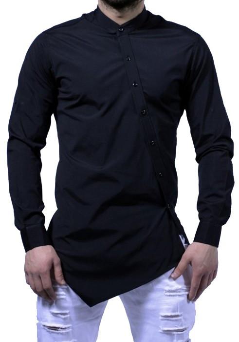Camasa barbati Slim Fit Neagra Fashion  - Camasa neagra cambrata bumbac (S-XXL)