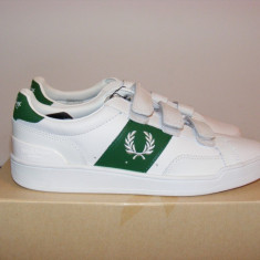 Adidasi Fred Perry Authentic Sturgess Velcro Trainers nr. 41 - Adidasi barbati Fred Perry, Culoare: Alb, Piele naturala
