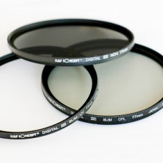Set 3 filtre UV CPL ND4 HD 77mm KentFaith Concept + 2 cadouri!!! - Filtru foto Kent Faith, 70-80 mm, Polarizare