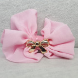 Clama pentru par, cu fundita, culoare roz deschis