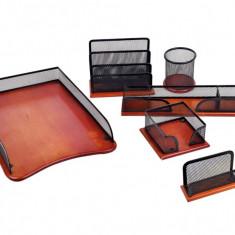 Set 6 piese pentru birou din lemn si plasa metalica - Biblioraft