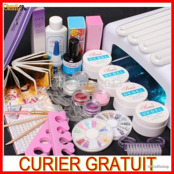 kit unghii false gel ,set manichiura, lampa uv
