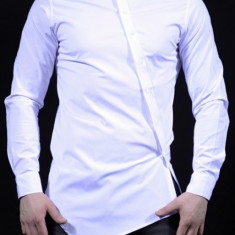 Camasa barbati Slim Fit Alba Fashion  - Camasa alba cambrata bumbac (S-XXL), XL, Maneca lunga, Alb, Negru