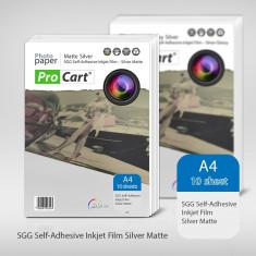 Folie FOTO autoadeziva Mata argintie A4 printabila inkjet - Hartie foto imprimanta ProCart