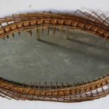 Oglinda ovala, de perete, cu rama din rachita impletita 84X56 cm