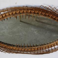 Oglinda ovala, de perete, cu rama din rachita impletita 84X56 cm - Oglinda living