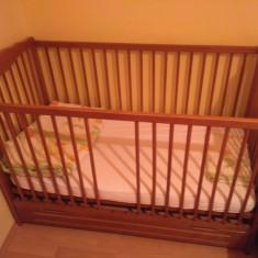 Patut din lemn pentru copii - Patut lemn pentru bebelusi, 120x60cm, Maro