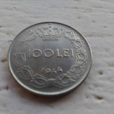 100 lei 1944 UNC pavilion lipsa ureche - Moneda Romania, Fier